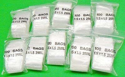 "1000Pcs Zip Seal Lock Mini Plastic Bags Resealable Small Tiny Little Square 1.5"" x 1.5"""