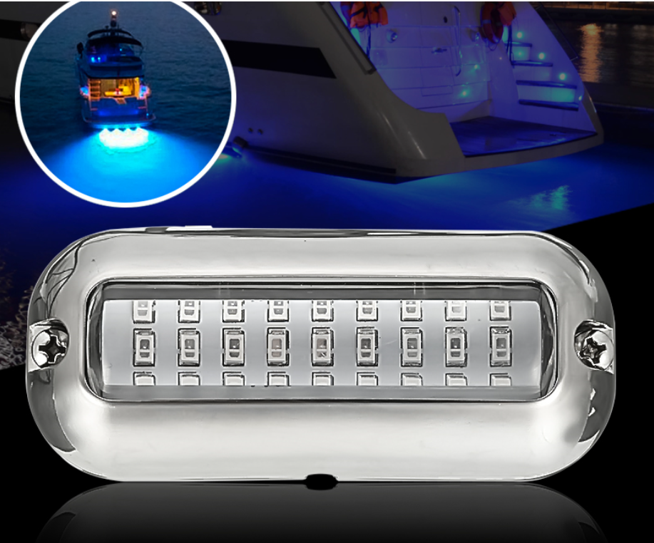 BoatSurf™ Blue Led  Waterproof Boat Transom Lights Cover