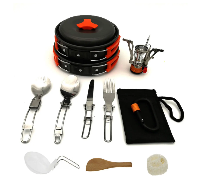 RLTgear™ Backpacking Cookware Set Outdoor Hiking Camping Mini Gas Stove Pot Bowl Pan