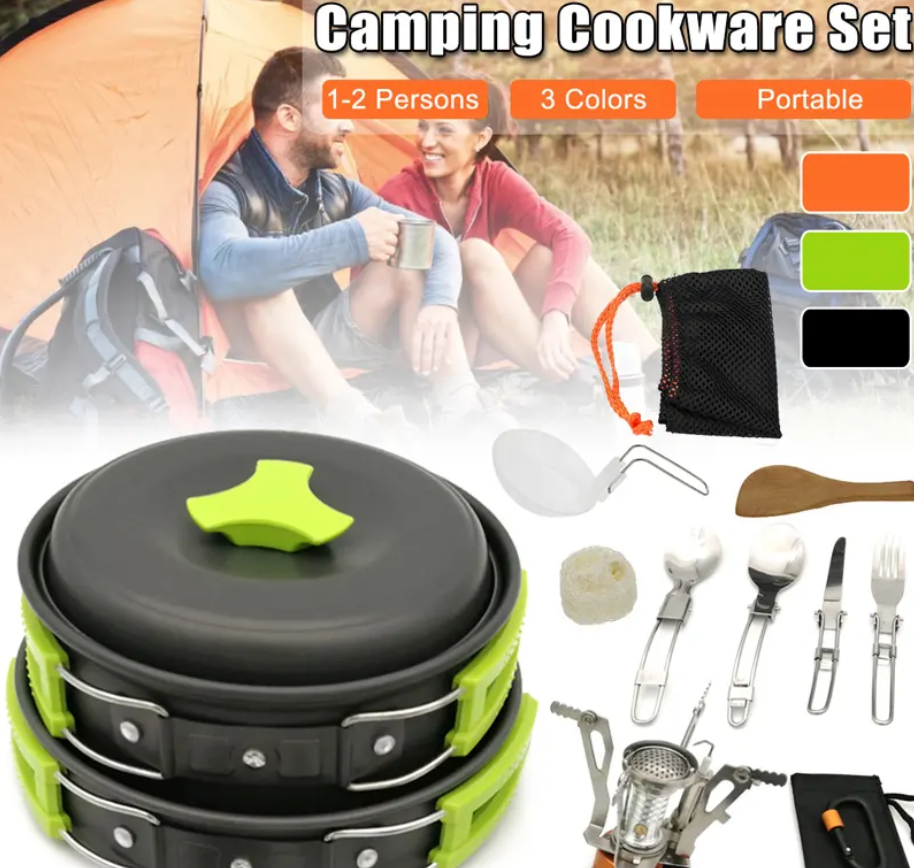 RLTgear™ Backpacking Camping Cookware Set Outdoor Hiking Mini Gas Stove Pot Bowl Pan