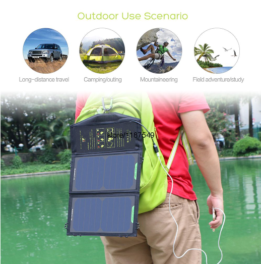 AllPowers Portable Solar Panel Battery Phone Charger for Hiking Outdoors
