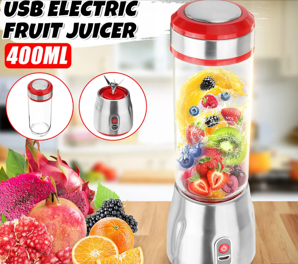 Juice2Go™ Mini Portable USB Electric Fruit Juicer Blending Machine Juice Maker Extracter 500ml 6 Blades