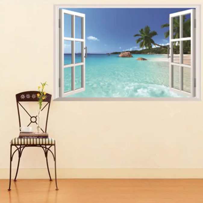ArtzyFartzy™ 3D Hawaii Holiday Sea View Beach Window View Decal Wall Sticker