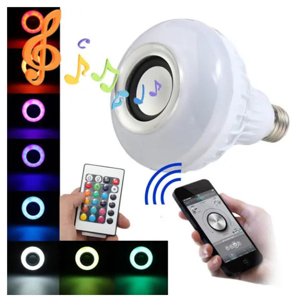 MusicBulb™ Bluetooth Speaker Bulb Wireless Power Music Playing Light Lamp LED 12W E27 RGB