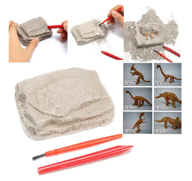 DinoDig™ Dinosaur Fossils Excavation Kit Archaeology Dig Up History Skeleton Fun Kids Gift Toys 6 pack