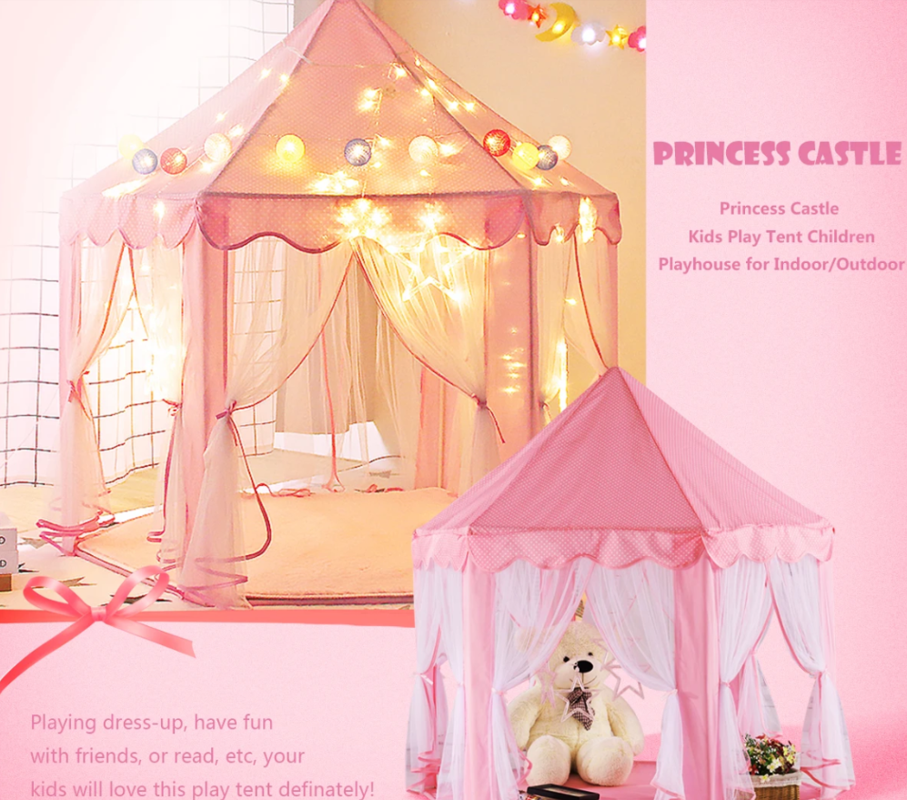PrincessFun™ Kids Toddler Castle Play Pop Up Tent Teepee Princess Playhouse Children Indoor Toys Girls
