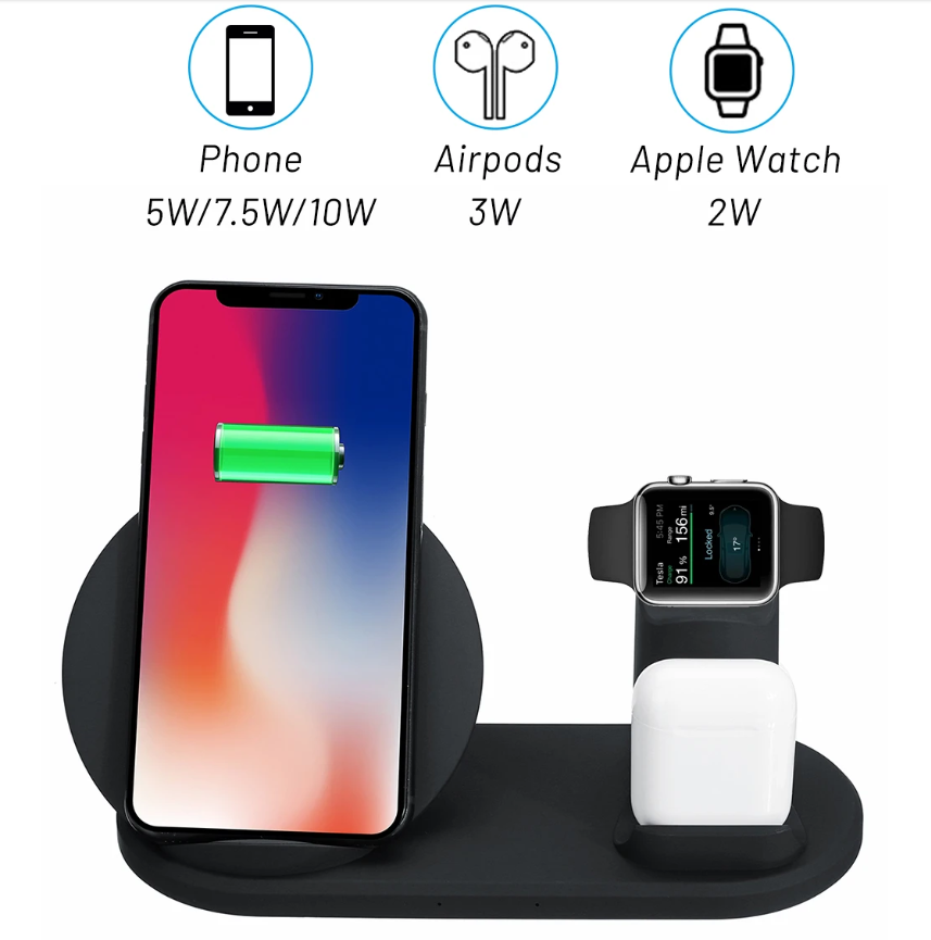 Qi Fast Wireless Charger Dock Pad Stand Charging Holder for iPhone Airpods Pro And Apple Watch 3 In 1