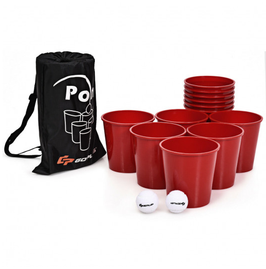Yard Beer Pong Giant Outdoor Backyard Camping Game Set with Carry Bag