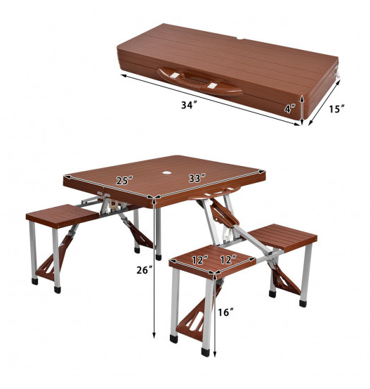 RLTgear™ Picnic Folding Patio Outdoor Table with Foldable Aluminum Bench Seats