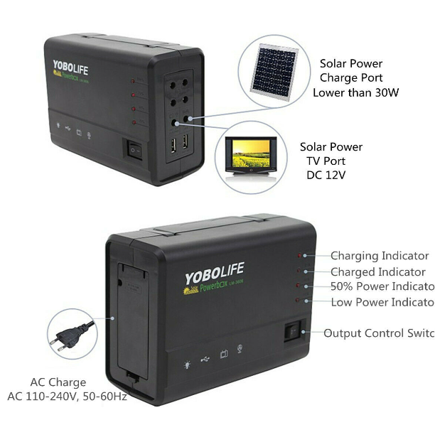 Solar Power Panel Portable Generator Storage LED Light USB Charger Home RV Outdoor System Kit 10W