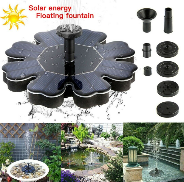 EZPump™ Solar Power Floating Water Fountain Pump Garden Pond Mosquito Control 8V 195mm 2.5W