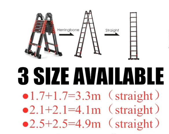 Home4U™ Telescopic Folding Aluminium Ladder Multi-Purpose Retractable Extension Step