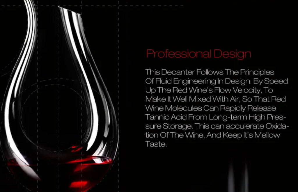 WineSnob™ Red Wine Decanter Carafe Aerator Pourer 1200ml Luxurious Crystal Glass U-shaped Horn