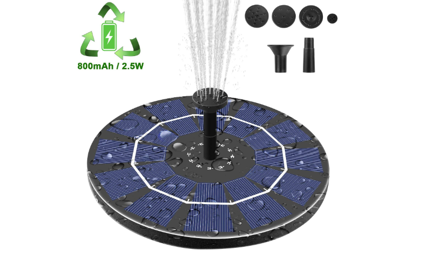 EEZPump™ Solar Power Floating Water Fountain Pump Garden Pond Mosquito Control 2.5W with 800mAh Battery Back-Up