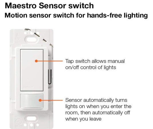 Lutron Maestro Motion Sensor Light Switch Auto Activated Detector