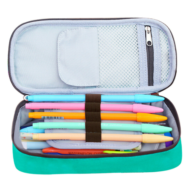 Pencil Case Pen Box School Stationery Cute Cosmetic Makeup Pouch Zipper Bag 3 Compartment Organizer