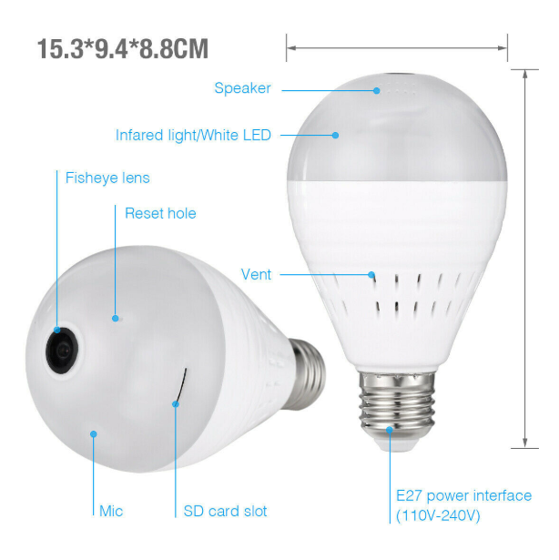 ZapZow™ Security Hidden Camera Light Bulb Motion Sensor LED Smart Wireless Wifi Night Vision