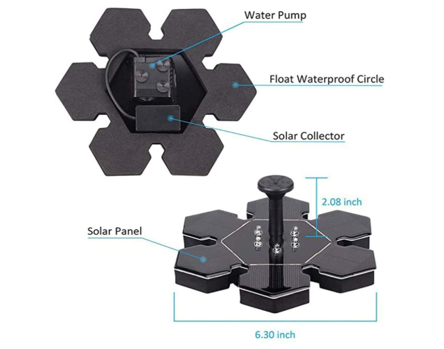EZPump™ Solar Power Battery Backup Floating Water Fountain Pump With LED Light 10V 2.5W
