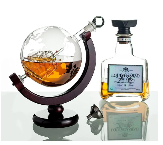 GetLucy™ Glass Globe Decanter Whiskey Bourbon Scotch Liquor Ship In A Bottle Holder Set 850ml