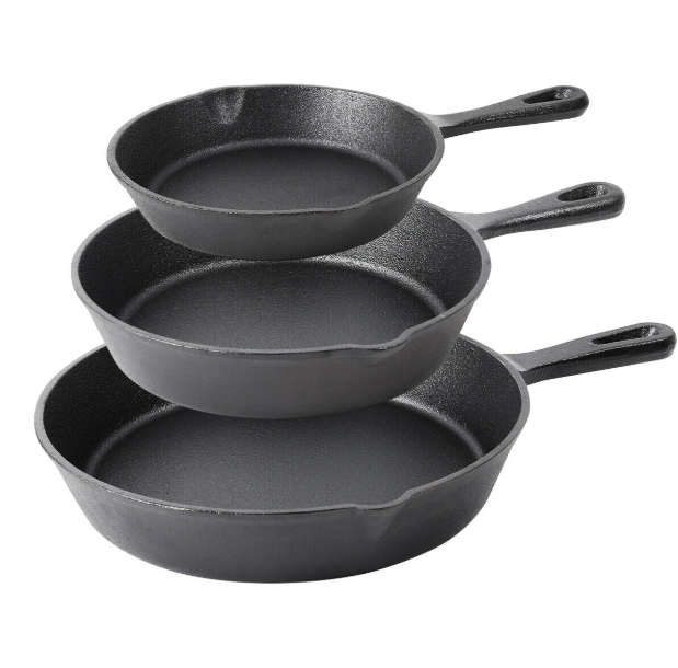 HealthPan™ 3Pcs Season Cast Iron Skillet Pan Cookware Best Healthy Safest Non-Stick Cleaning Grill Set