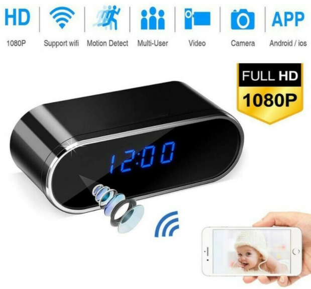 SpiWare™ Wireless Alarm Clock Security 1080P Camera With Night Vision