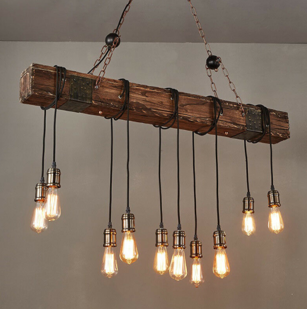 CountryBoyz™ Wooden Rustic Vintage Beam Light Fixture Pendant Ceiling Lamp Kitchen Barn Farmhouse