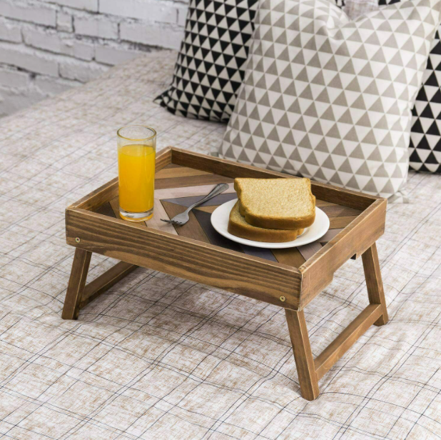 CountryBoyz™ Breakfast Laptop Tray Stand Table For In Bed Vintage Rustic Wooden Desk