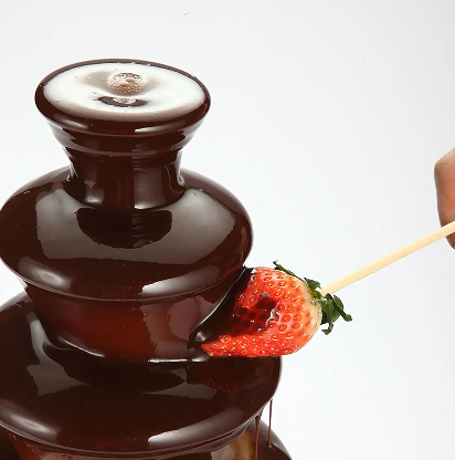ChocAholic™ Chocolate Fountain Fondue 4 Tier Heated Melting Foundue Machine