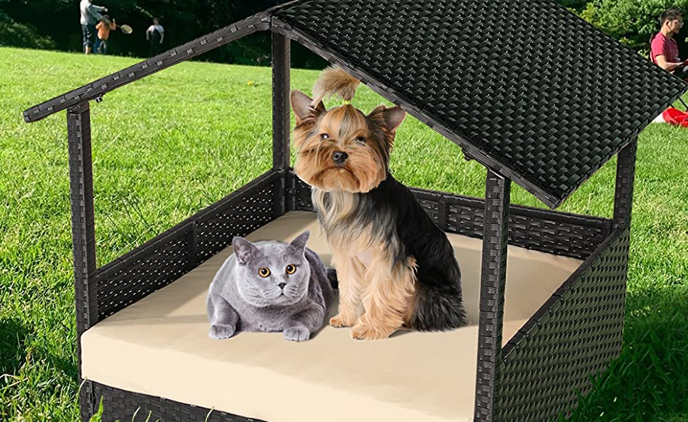MaMee™ Outdoor Dog Cat Bed Weatherproof Camping Patio Rattan House