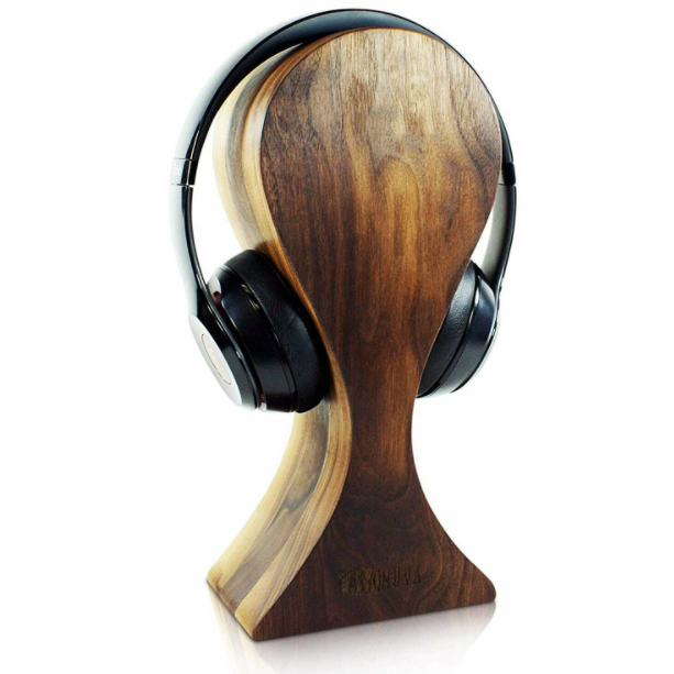 Headphone Headset Stand Holder Hanger Solid Wood Rack Gaming Wooden Hook