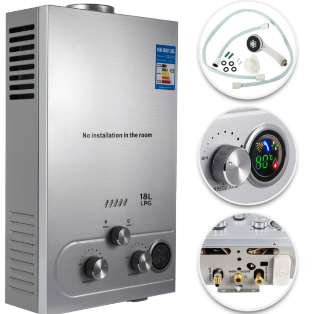 HeatZup2™ 18L Propane Gas Tankless Hot Water Heater 5GPM LPG Instant Boiler w/ RV Shower Kit