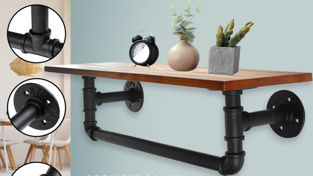 ShelfPipe™ Black Pipe Iron Shelves Industrial Open Shelf Vintage Wall Shelf Bracket