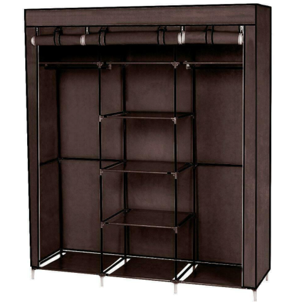 Portable Closet Wardrobe Clothes Rack Storage Space Organizer Mobile Armoire
