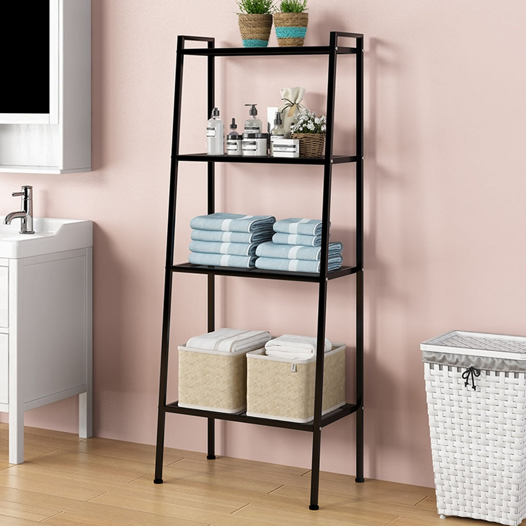 Home 4U™ 4-Tier Durable Bookcase Bookshelf Leaning Wall Shelf Shelving Ladder Black/White