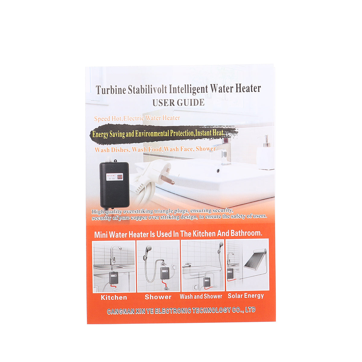 LCD Electric Tankless Instant Hot Water Heater for Bathroom Kitchen Sink