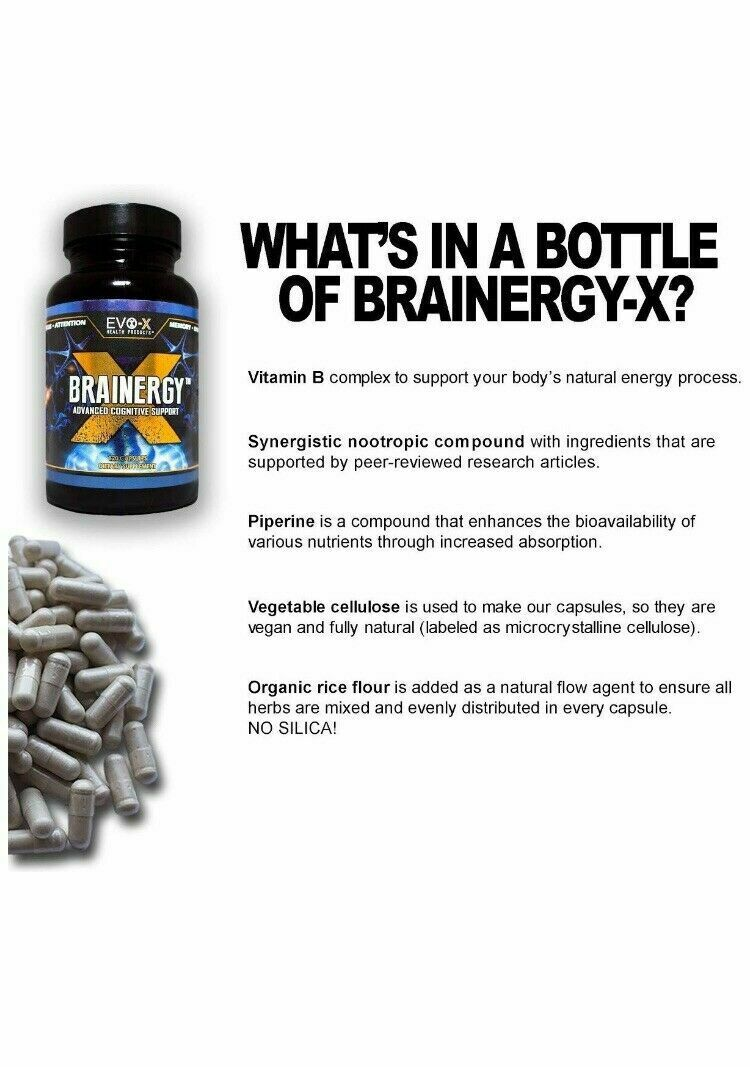EVO-X Nootropic Best Smart Alpha Brain Enhancing Health Limitless Products Brainergy 120 Capsules