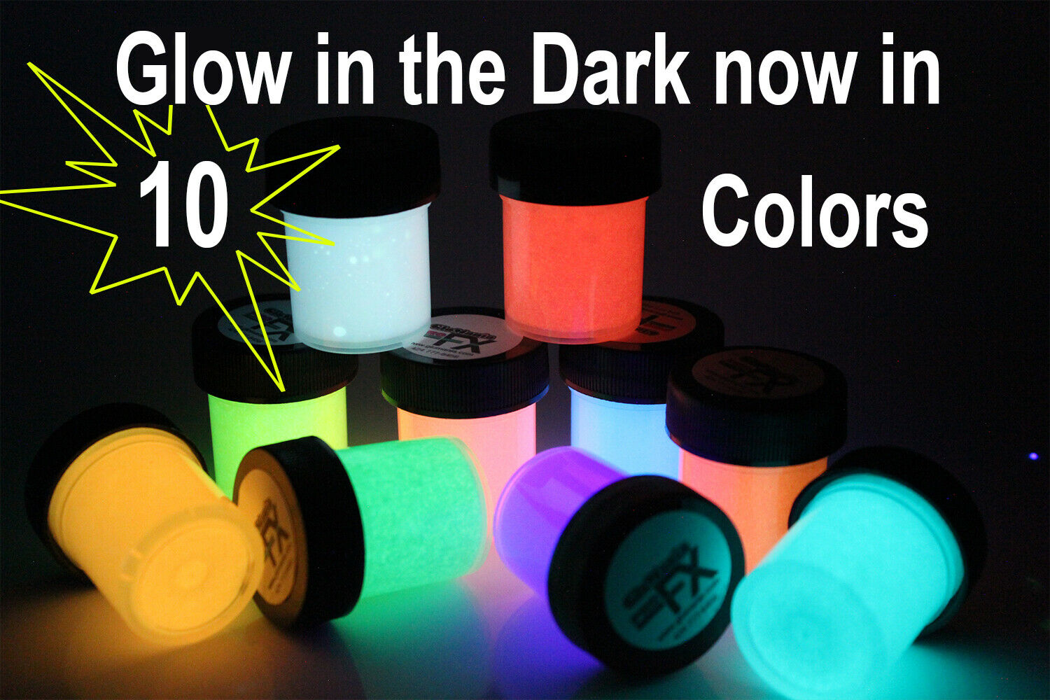 10Pcs Long Lasting Glow In The Dark Paint Best Acrylic Phosphorescent For Halloween