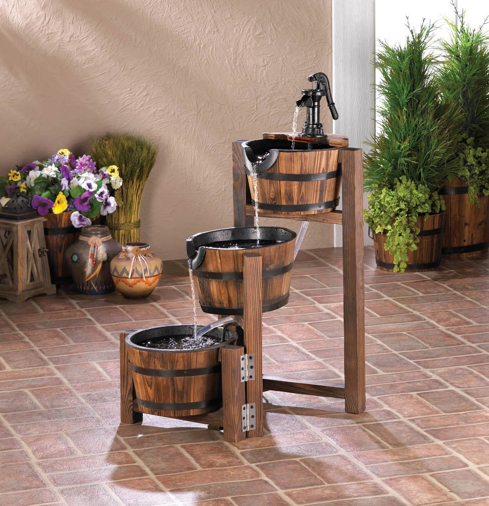 Home4U™ Apple Barrel Cascading Water Fountain Garden Outdoor Patio Backyard Waterfall