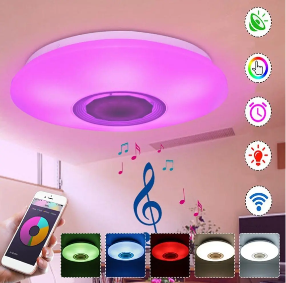 Bluetooth Smart LED Ceiling Light Fixture Speaker RGBW APP/Voice Control Dimmable Works with Google Alexa 48W