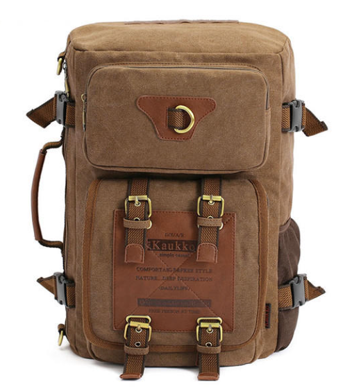 KAUKKO Canvas Backpack Hiking Shoulder Travel Army Style Tactical Laptop Bag Men's Women's