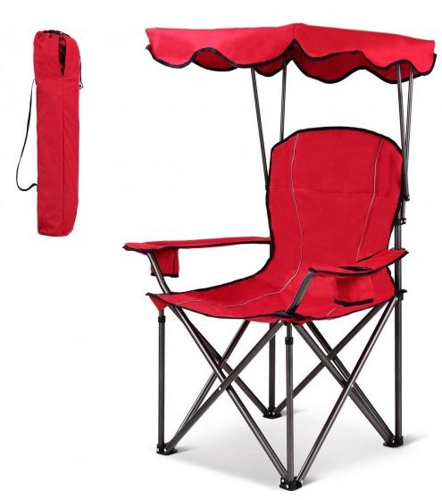 Folding Portable Camping Beach Canopy Chair with Cup Holders