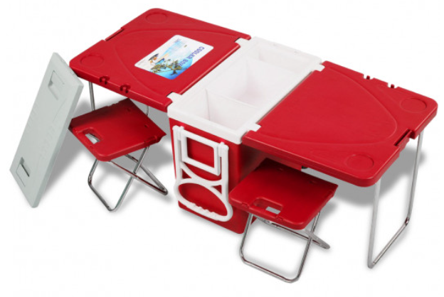 RLTgear™ Cooler w/ Table & 2 Chairs Multi-Functional Picnic Camping Rolling