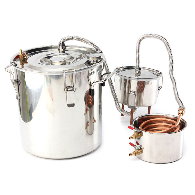 GetLucy™ 5Gal Alcohol Copper Distiller DIY Handmade Moonshine Spirt For Liquor Beer Wine Stills With Thumper Keg