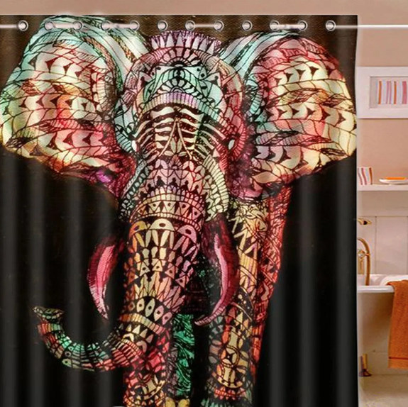 Home 4U™ Waterproof Elephant Shower Curtain Colorful Bathroom Decor with 12 Hooks 180x180cm