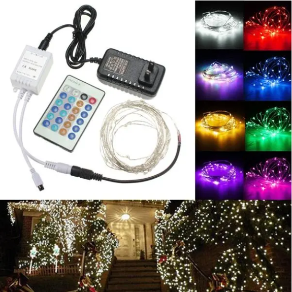 BriteN™ LED Fairy String Lights Twinkling With Remote Control Silver Wire Christmas Lights with Adapter 12V 5M 50LED