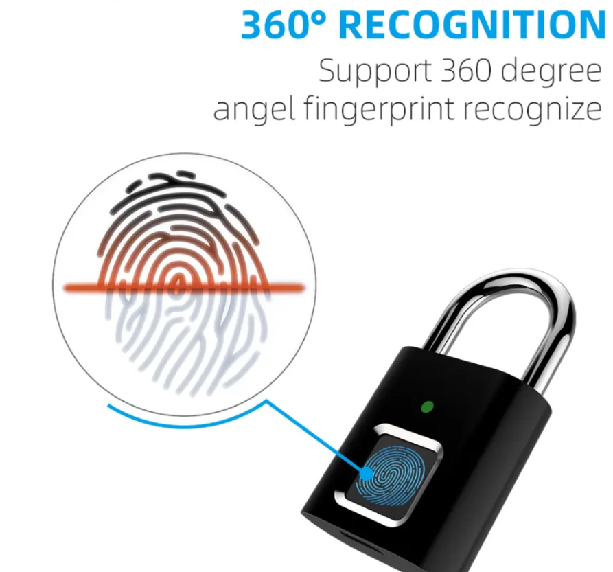 Anytek L34 MINI Intelligent Automatic Fingerprint Lock Smart Padlock