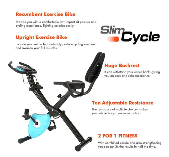 Fit4U™ Exercise Upright Recumbent Spin Bike Dynamic Stationary Bicycle Home Super Quiet Fitness Equipment