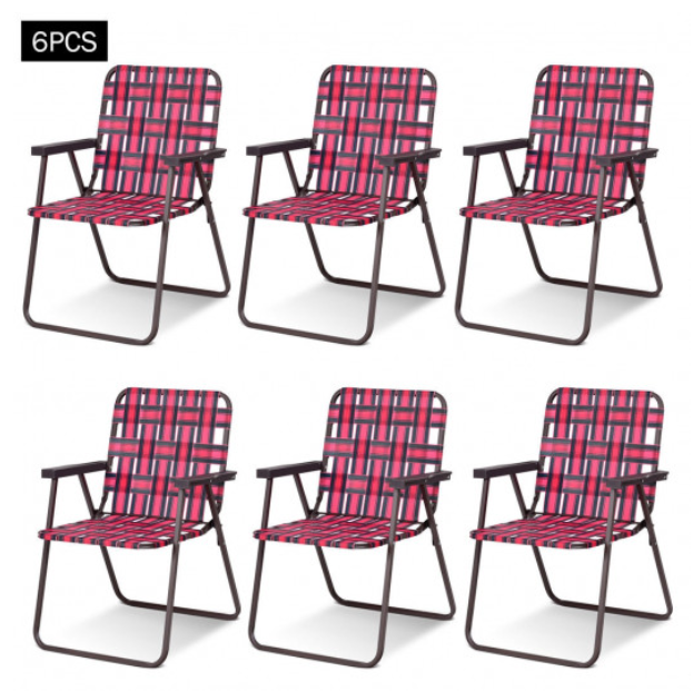 Folding Beach Chair Camping Lawn Webbing Steel Frame Vintage Old School 6 PCS
