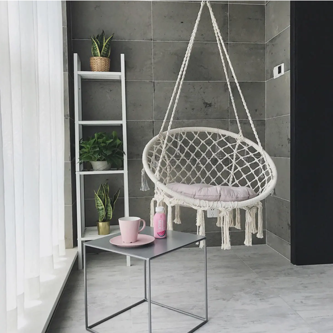 Hammock Swing Chair Portable Outdoor Hanging Cotton Rope Macrame Room Decoration Art 47.2inch 120kg