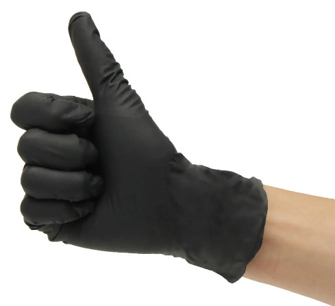 Safeglove™ 100Pcs Black Latex Rubber Disposable Tattoo Piercing Mechanic Medical Sterile Gloves